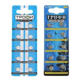 Батарейки - Батарейка алкалиновая - Трофи, G3 (392, LR736, LR41)-10BL, 1.5В, блистер,10 шт., 0