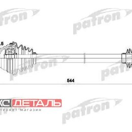 Трансмиссия  - PATRON PDS0253 Полуось передняя левая 36x544x59.5 AUDI A3 03- , A3 SPORTBACK ..., 0