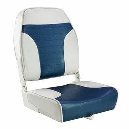 Походная мебель - Кресло складное мягкое ECONOMY с высокой спинкой, цвет белый/синий, 0