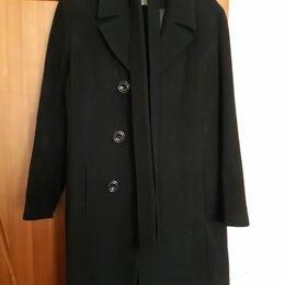 Пальто - Классическое пальто черное с поясом (РФ Симпатика), 46-48, 0