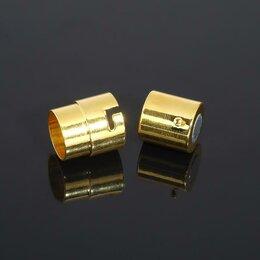 Защелки и завертки - Замок-концевик магнитный с фиксатором 18*12мм (внутр. 10мм), цвет золото, 0