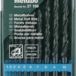 Для дрелей, шуруповертов и гайковертов - Набор сверл для металла HSS-R 10 шт 1-10 мм Metabo 627158000, 0