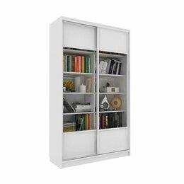 Шкафы, стенки, гарнитуры - Библиотека-купе Вместительная  2 стекло+ЛДСП Белый, 0