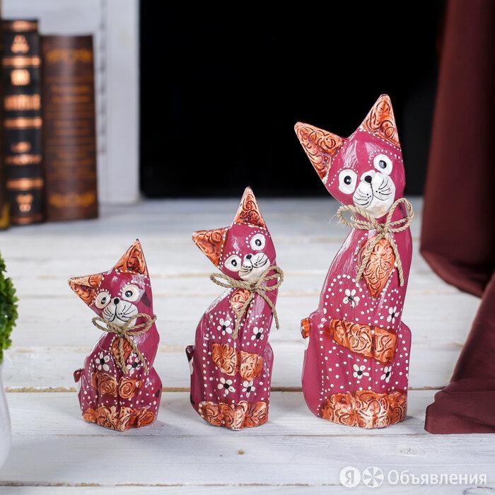 """Сувенирный набор дерево """"Красные кошечки"""" (20,15,12) 4х13х20 см по цене 1208₽ - Новогодние фигурки и сувениры, фото 0"""
