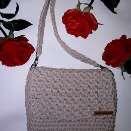 Сумки - Вязаная кремовая  сумка крючком, 0