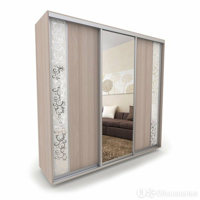 Шкаф-купе «Акцент-Вера», 2400 × 600 × 2310 мм, зеркало «спирали М», ясень шим... по цене 51135₽ - Шкафы, стенки, гарнитуры, фото 0