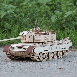 Сборные модели - Боевой танк деревянный конструктор поли, 0