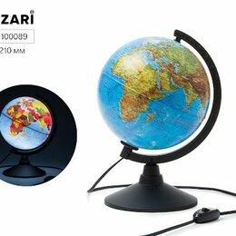 Глобусы - Глобус физико-политический, d=210мм, с подсветкой, круглая черная подставка, 0