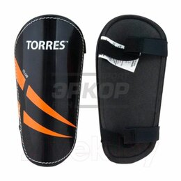 Спортивная защита - Щитки футбольные Torres Club без голеностопа на липучке чёрн (х3), 0