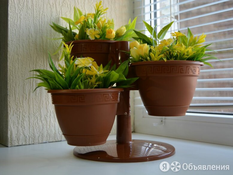 Кашпо Цветочный каскад Антик шоколад 3 шт с поддоном по цене 252₽ - Дизайн, изготовление и реставрация товаров, фото 0