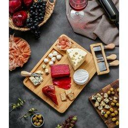 Подставки и держатели - Набор для подачи сыра 'Маасдам', 4 ножа, соусник, бамбук, 0