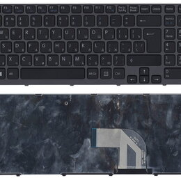 Клавиатуры - Клавиатура для Sony Vaio SVE15 черная с серой рамкой, 0