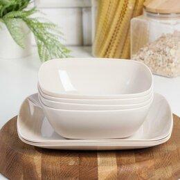 Тарелки - Набор тарелок 'Квадро', цвет бежевый, 0