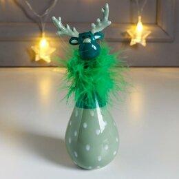 Новогодние фигурки и сувениры - Сувенир керамика 'Лосик, узор капельки' зелёный, пух 16,6х6х6 см (комплект из..., 0