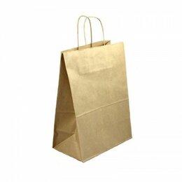 Пакеты - Пакет бумажный с кручеными ручками ЭКО 260х140х350мм, крафт., 0