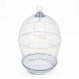 Клетки и домики - N1 Клетка для птиц, 48,5*48,5*76,  серебряная, круглая, укомплектованная., 0
