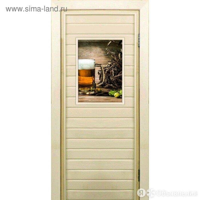 Дверь для бани со стеклом (40*60), Хмель и солод, 170×70см, коробка из оси... по цене 5382₽ - Двери, фото 0