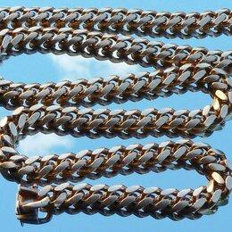 Цепи - Позолоченная панцирная серебряная цепь 96 грамм/60 см, 0