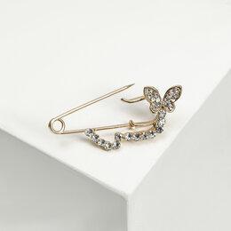 """Свадебные украшения - Булавка """"Бабочка в полёте"""", 4 см, цвет белый в золоте, 0"""