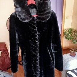 Шубы - Шуба аксар мутон с норковым капюшоном, 0