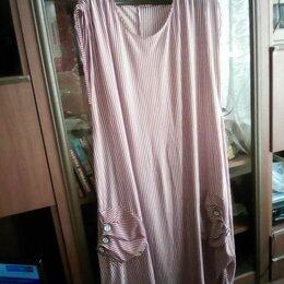 Платья - Трикотажное платье с карманами. Белая и красная полоска. Ращмер52-54, 0