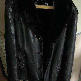 Дубленки и шубы - Мужская кожаная куртка с норкой, 0
