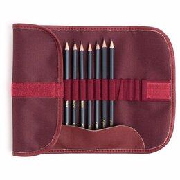 """Канцелярские принадлежности - Набор карандашей Малевичъ """"Graf'Art"""" в пенале-скрутке, цвет: бордо, 8 штук, 0"""