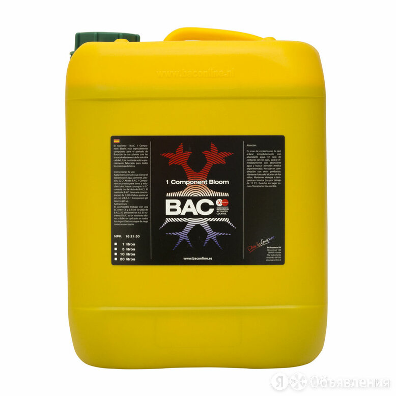 Удобрение базовое B.A.C 1 Component BLOOM 5л по цене 3950₽ - Удобрения, фото 0