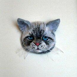 Броши - Серый кот. Брошь. Валяние., 0