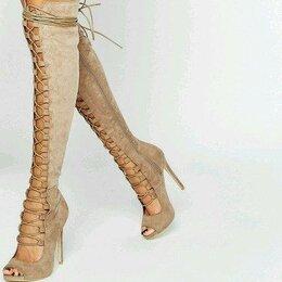 Сапоги - Ботфорты на шнуровке, 0