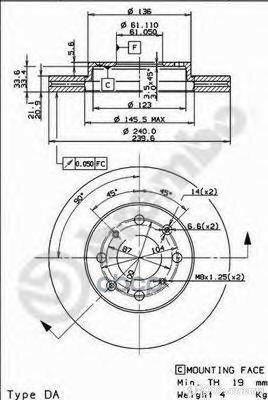 Диск Торм.Honda Jazz Ii Gd 03/02-12/08 Brembo арт. 09.9554.10 по цене 2250₽ - Тормозная система , фото 0
