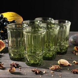 Одноразовая посуда - Набор стаканов 'Ла-Манш', 350 мл, 8х8х12,5 см, 6 шт, цвет зелёный, 0