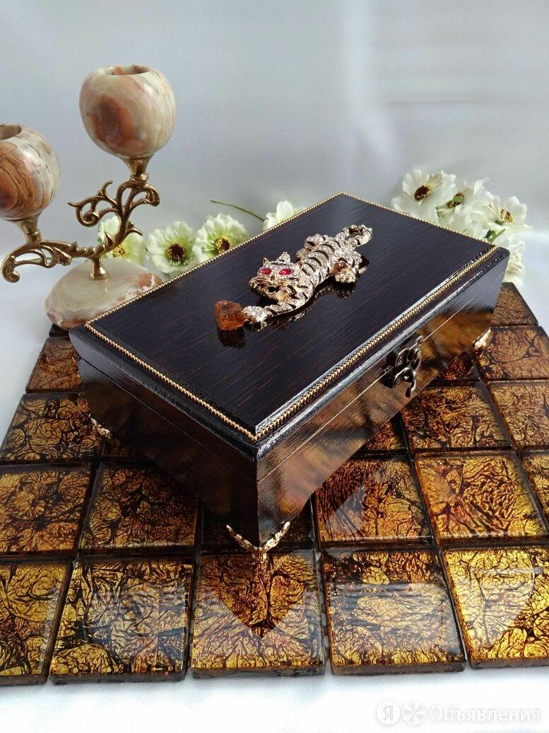 Шкатулка - купюрница ,,Тигр с янтарем,, по цене 2200₽ - Шкатулки, фото 0