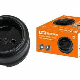 Электроустановочные изделия - Розетка фарфоровая 2П 10А 250В черная «Болонь» TDM, 0