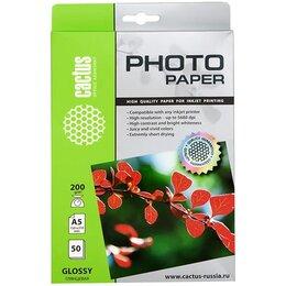 Бумага и пленка - Фотобумага Cactus CS-GA520050 A5, 0