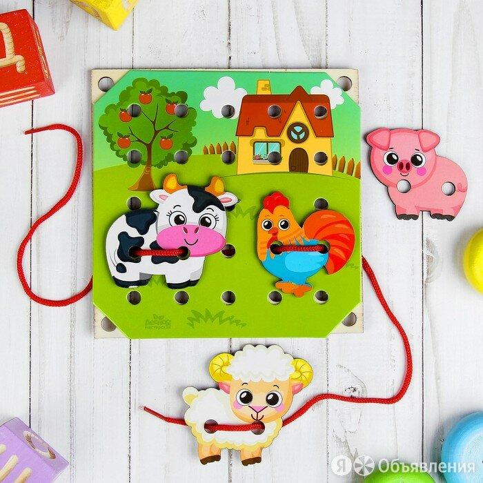 Деревянная игрушка-шнуровка «Ферма» по цене 297₽ - Развивающие игрушки, фото 0