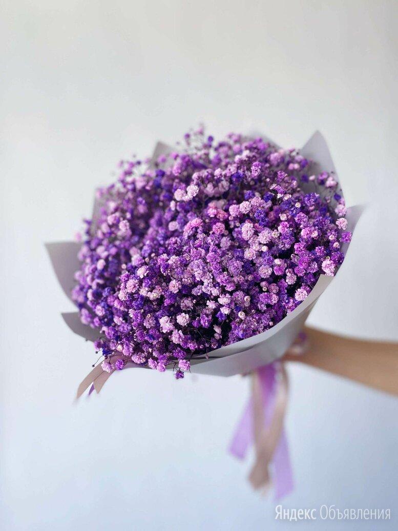 Букет из фиолетовой гипсофилы по цене 1500₽ - Цветы, букеты, композиции, фото 0