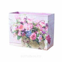 Подарочная упаковка - Пакет подарочный Цветы 23х18 см, розовый, 0