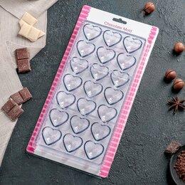 Формы для льда и десертов - Форма для шоколада 'Сердца', 28x14 см, 21 ячейка, 0