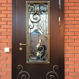 Входные двери - Дверь входная IV ВЕНЗЕЛЯ стальная остеклённая кованная в дом, 0