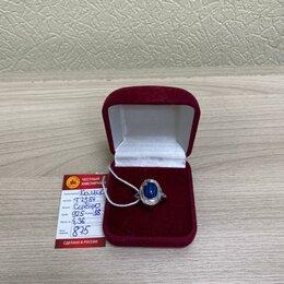Кольца и перстни - Кольцо с синим камнем, серебро (Т-7584)  , 0