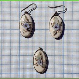 Комплекты - комплект ЦВЕТЫ кулон+серьги фарфор, 0