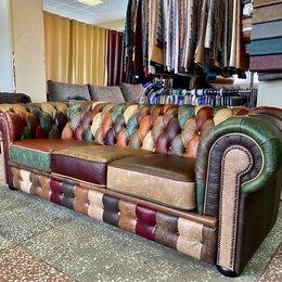 Диваны и кушетки - Кожаный диван честер в стиле пэчворк, 0