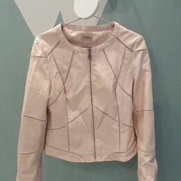 Куртки - Пудровая кожаная куртка, 0