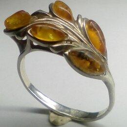 Кольца и перстни - Кольцо серебро СССР 925 проба клеймо янтарь р.18,5, 0