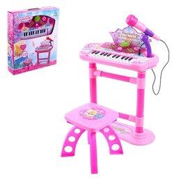 Детские музыкальные инструменты - Напольный синтезатор «Маленький музыкант», со стульчиком, микрофоном, 0