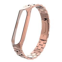 Ремешки для часов - Металлический браслет Xiaomi Mi Band 4 (Розовое Золото), 0