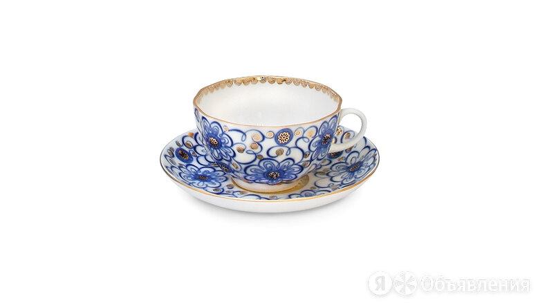 """Чашка чайная с блюдцем ИФЗ """"Вьюнок"""" 250мл, ф.Тюльпан, фарфор по цене 1870₽ - Посуда, фото 0"""