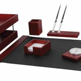 Подарочные наборы - Набор настольный подарочный Delucci, 7 предметов, красное дерево, часы, 0