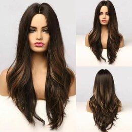 Аксессуары для волос - Парик волнистый длинный без челки, 0